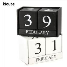 Kicute European Perpetual Wooden Calendar Desktop Block Wood Calendar DIY Yearly Planner Pen Holder Home Desk Office Stationery