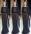 Nueva moda 2017 formal vestido del partido vestidos negro scoop neck completo elegante del cordón más el tamaño de vestidos de noche largo