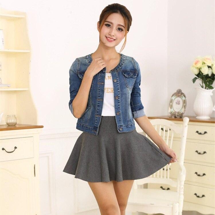 00fa8a22036 2018 Spring autumn Denim Jacket For Women Plus Size Long Sleeve Short Jeans  Jacket Women Denim ...