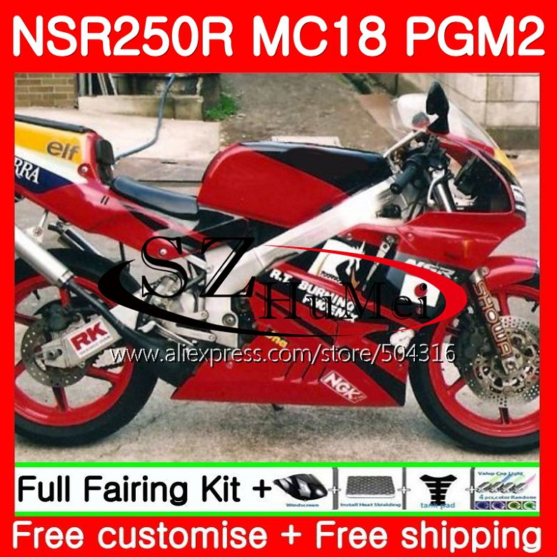 MC18 For HONDA PGM2 NSR250 <font><b>NSR</b></font> <font><b>250</b></font> R NSR250R 88 89 124SH.1 MC16 <font><b>NSR</b></font> 250R NS250 RR NSR250RR 1988 1989 88 89 Glossy red Fairing image