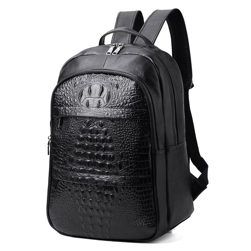 Luxury Brand Designer Alligator Pattern Genuine Leather Men Backpack Perfect Quality School Bag 15 Laptop Bag