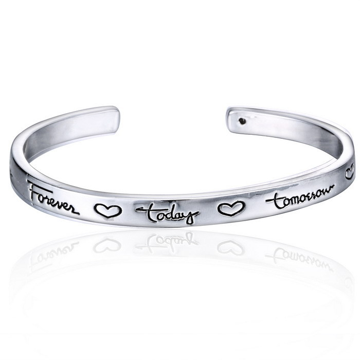 New Cuff Bracelet With Inspirational Letter Unique Personalized Engraved Gifts For Friends Forever 2017 In Charm Bracelets From Jewelry