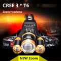 Headlamp LED CREE 3 T6 light 18650 battery Zoom waterproof Outdoor Camping Fishing Hunting High Power Rechargeable Headlight