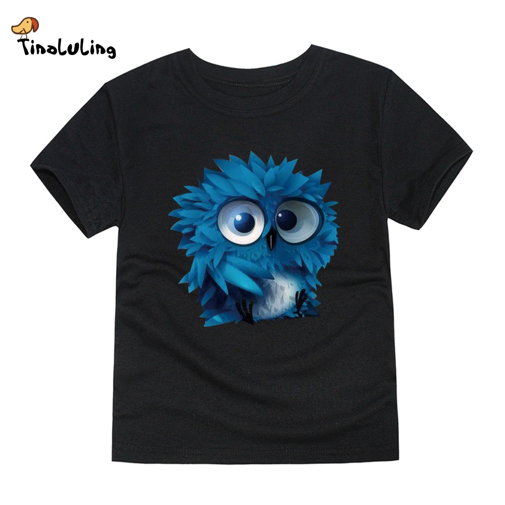 TINOLULING T-Shirt Kids Tops Girls Boys Tees Baby Owl for 2-14-Years Children 12-Colors