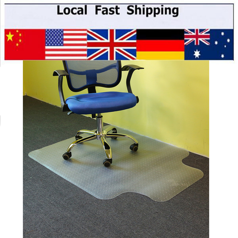 1pc lipped office chair desk tshaped carpet protector mat pvc clear with grips
