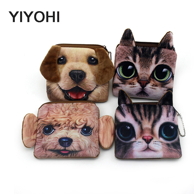 YIYOHI Hot Sale Aquare 3D Print Cute Cat /Dog Zipper Plush Coin Purse Kawaii Children Bag Women Wallets Mini Change Pouch Bolsa hot sale short plush chew squeaky pet dog toy