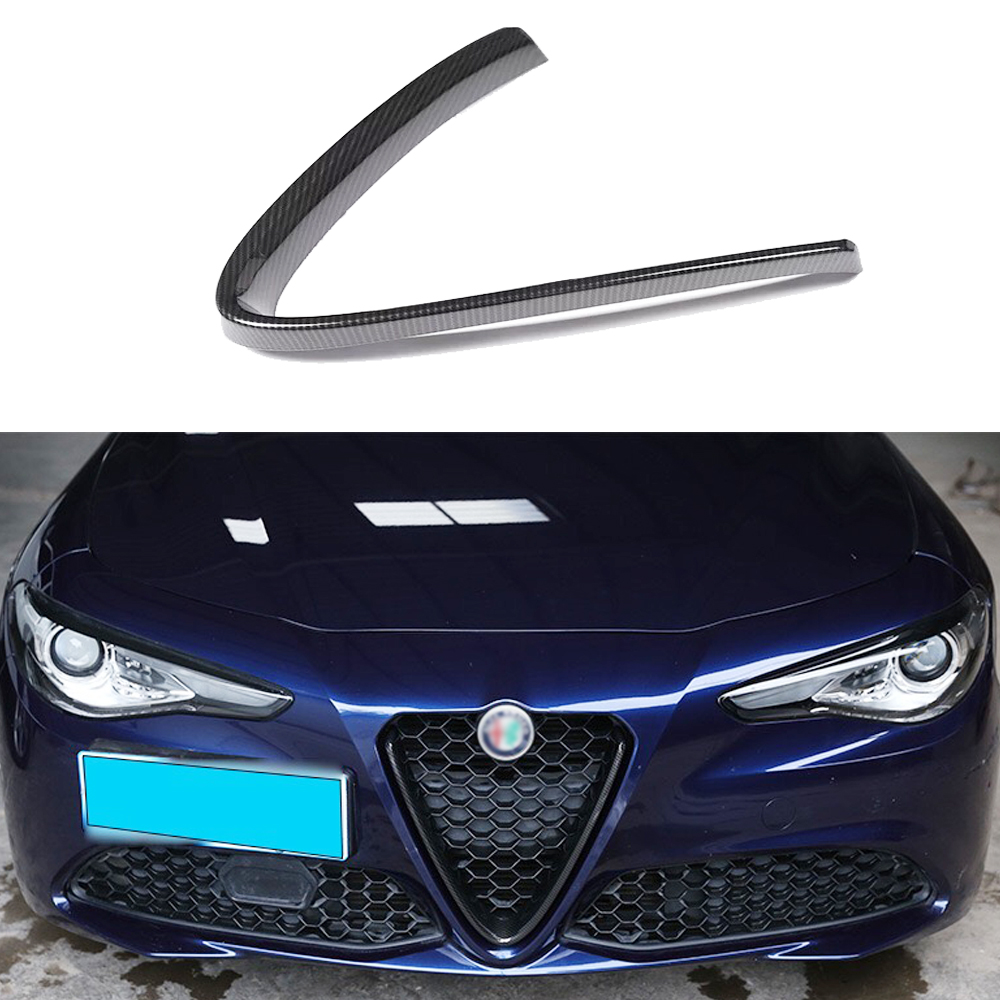 JEAZEA Carbon Fiber Style For Alfa Romeo Stelvio Giulia Accessories Car Head Grilles V Frame Trim Sticker Logo Cover Styling
