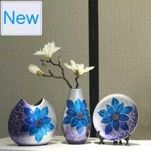 3pcs/Set Hand painted ceramic vase Antique Porcelain flower with vases for flowers wedding decoration home decor moderno