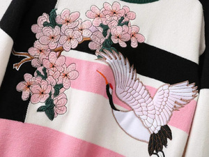 Image 4 - female casual stitching crane flower embroidery sweater
