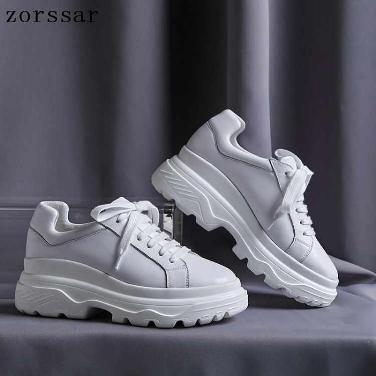 2019 herbst Frauen Flache Plattform Turnschuhe Schuhe Damen Echtes Leder Dicken boden Casual Schuhe Lace up Wohnungen Mokassins creepers
