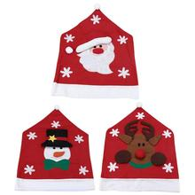 Christmas Chair Back Cover Snowman Santa Claus Elk Dinner Table Party Red Hat