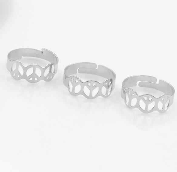 Z 97 Europeus e Americanos moda jóias sinal de paz anel aberto anel jóias da moda jóias casal anel jóias acessórios