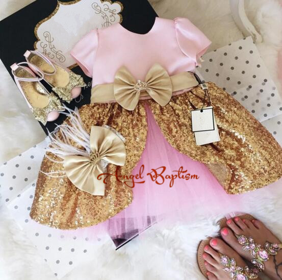 Sparkly Pretty Pink flower girl dresses gold sequins baby girl princess tutu dress 1st birthday prom party outfit with bow