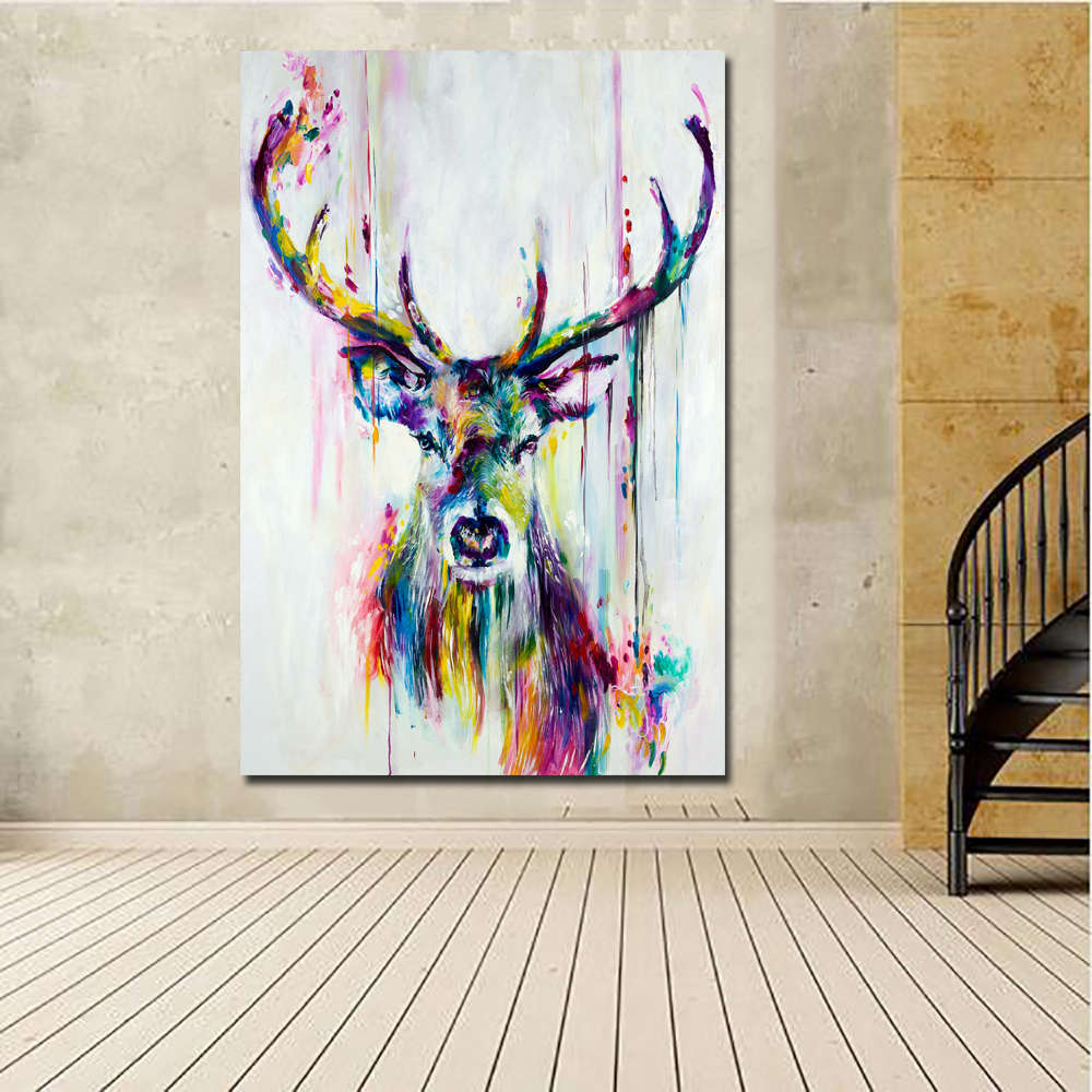 1 Pcs Pop Art Canvas Painting Nordic Animal Deer Pictures Canvas Print Posters Wall Art Pictures No Frame