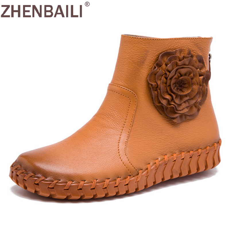 ZHENBAILI  Quality Hand Sewing Women Shoes 2017 Autumn Fashion Genuine Leather Soft Casual Ankle Boots Zipper Flower Flat Shoes front lace up casual ankle boots autumn vintage brown new booties flat genuine leather suede shoes round toe fall female fashion