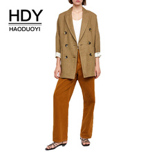 HDY Haoduoyi Woman Retro Double Row Button Coat Texture Fabric Decoration Commute Lady Office Style Loose Simple Casual