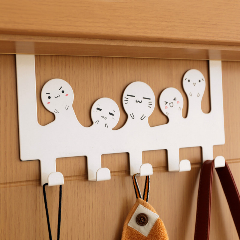 Cartoon Hook Over The Door Doors Hanger Iron Rack Organizer Holder Cabinet Back Wall Hooks for Bag Clothes Home Storage Supplies in Hooks Rails from Home Garden