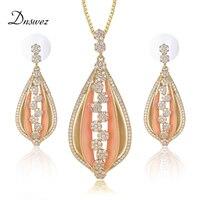 Dnswez Gold Jewelry Sets Enamel Paint Technology Flower Petal Pendant Necklace Earrings Sets for Women High Level Zircon Setting