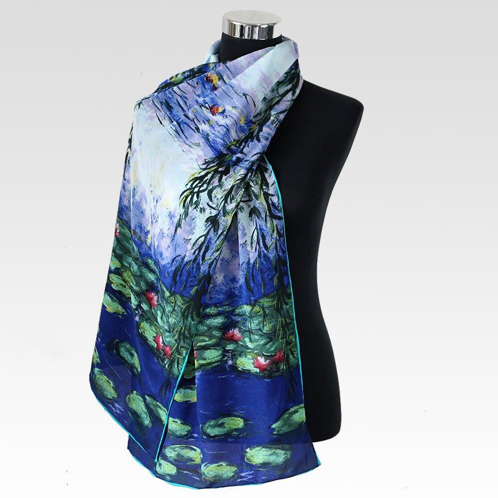100% hedvábný krepový dlouhý šátek ženy 45cmX160cm módní dlouhý šátek Pure Silk New Desigual Water Lily Oil Painting Šátky