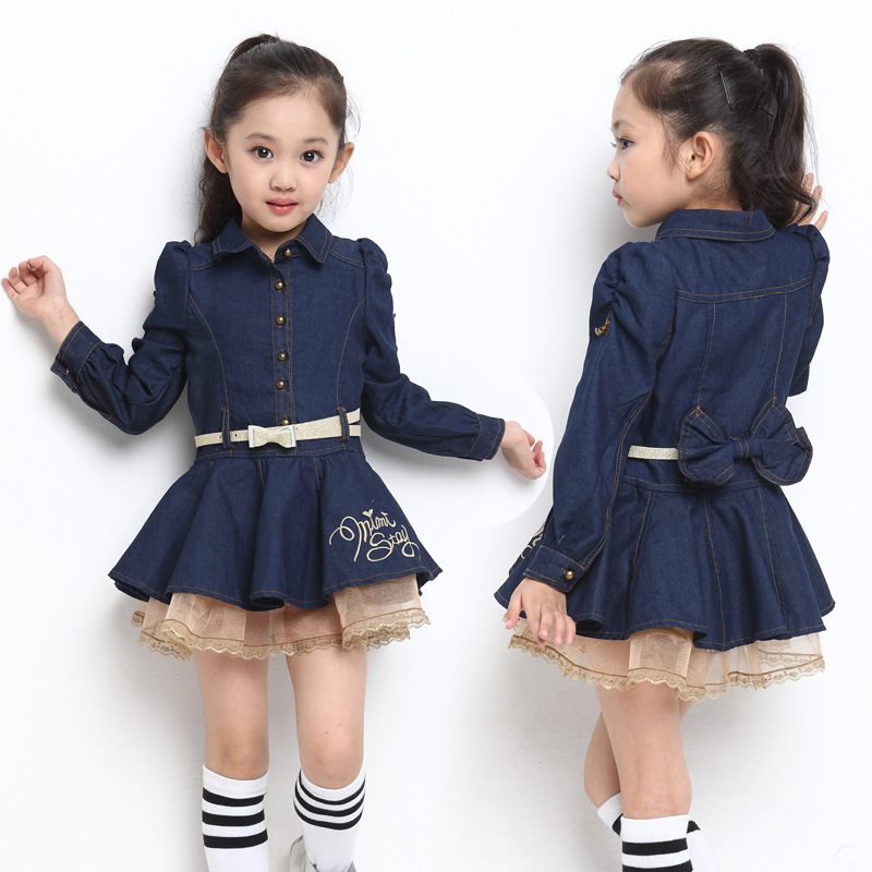 2067c7a40b Spring autumn Girl jeans denim dress Long sleeve baby girl dress kid  clothes girl t shirt t-shirt casual dress for 90-140cm kid