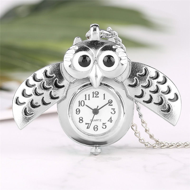 Fashion Silver Unisex Vintage Slide Smart Owl Pendant Antique Necklace Pocket Watch Gift High Quality lancardo fashion brown unisex vintage football pendant antique necklace pocket watch gift high quality relogio de bolso