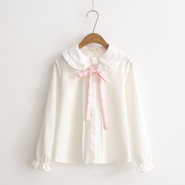 2017 Spring new Fresh Japanese Sweet Soft sister Young Girl Pink Bow White Basic Shirt Cute Peter pan collar Casual Women Blouse