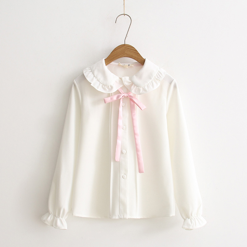 Spring baru Fresh Japanese Sweet Soft kakak Young Girl Pink Bow White Basic Shirt Cute Peter pan kolar Kasual Wanita Blaus