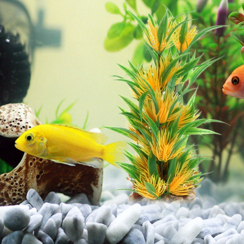 Aquarium Grama Artificial Aquatic Plants Green Yellow Grass With Ceramic Base Fish Tank Aquario Decoration Stone Is Land in Decorations from Home Garden