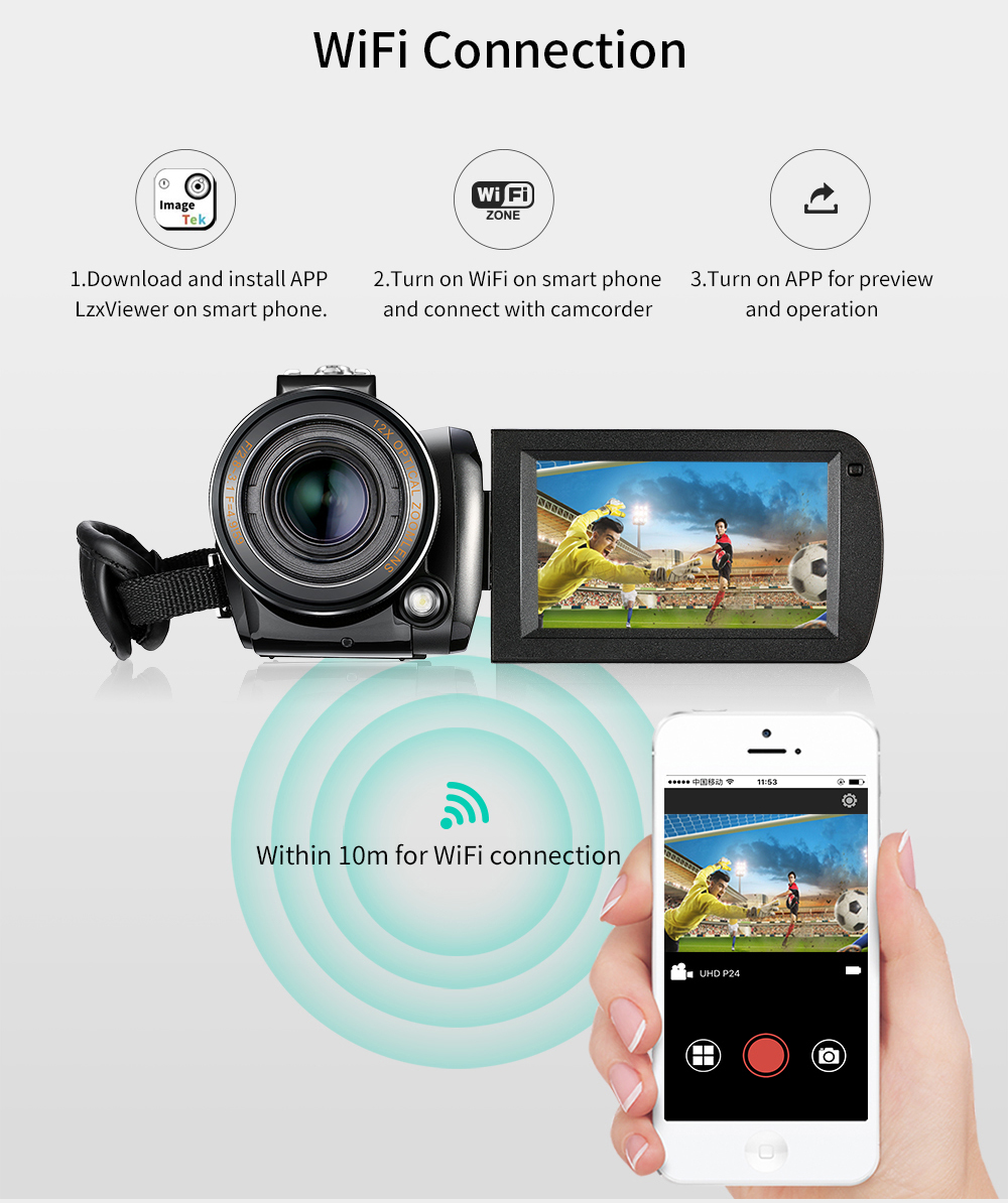 Ordro HDV-AC5 4K Camcorder 12X Optical Zoom 3.1 IPS Touch Screen Ultra HD 1080P 60FPS Digital WiFi Camera 15