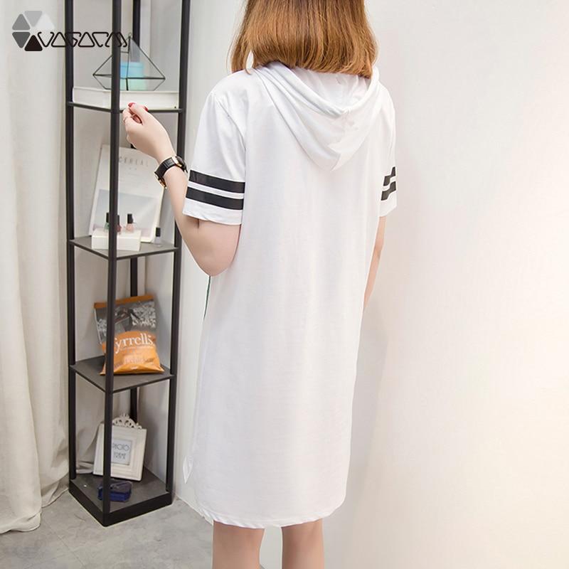 Summer Plus Size Dress Fashion Loose Streetwear Cute Cartoon Striped Hoooded Dresses Casual Goofy Print Women Dress XL 5XL 2019 in Dresses from Women 39 s Clothing