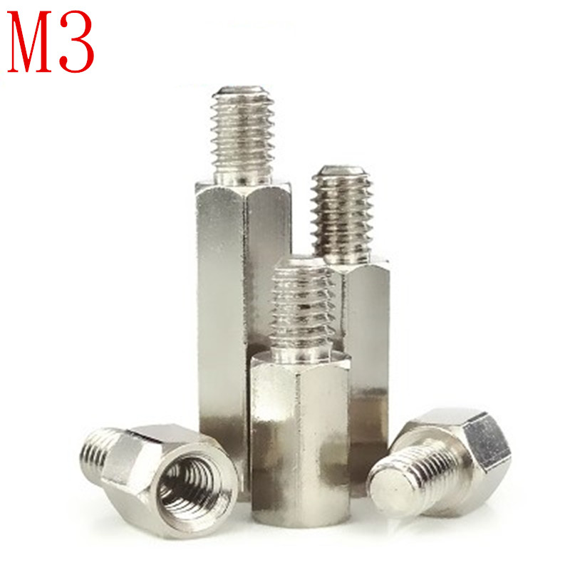 20Pcs/lot  m3*L+6 Male to female nickel plated brass hex standoff M3*6/8/10/12/15/18/20/25/30+620Pcs/lot  m3*L+6 Male to female nickel plated brass hex standoff M3*6/8/10/12/15/18/20/25/30+6
