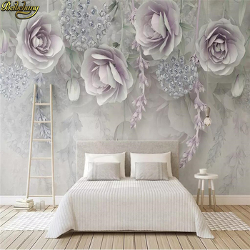 beibehang Custom 3d wallpaper mural lilac flower 3d embossed flowers TV background wall papers home decor papel de parede