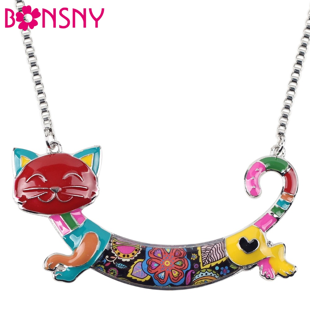 Bonsny Statement Maxi Alloy Enamel Cat Choker Necklace Chain Pendant Collar 2018 Fashion New Enamel Jewelry for Women GIfts
