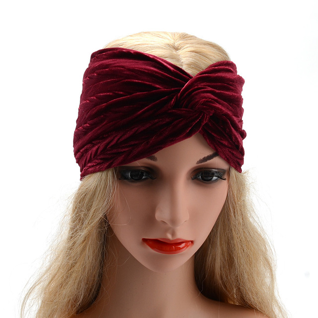 Thick plush widened hair band Middle knotted headband Pleated hairband  flannel women turbans fashion head wraps hair accessories 8ae50a532a5