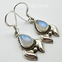 Pure Silver Unseen DROP RAINBOW MOONSTONE FRENCH WIRE DANGLE Earrings 3 4 CM