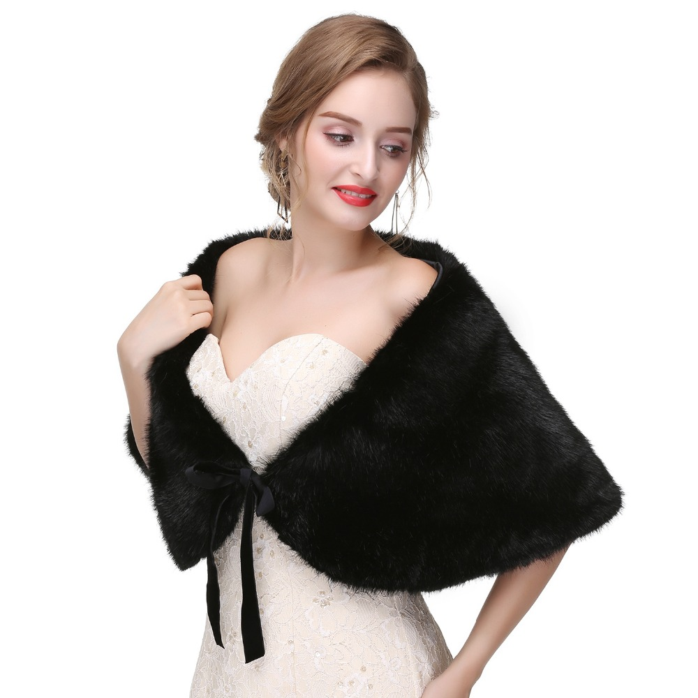 Black Real Fox Fur Bridal Wraps For  Cape Winter Wedding 2018 New Fur Bridesmaids Black Fur Shawl For Wedding Shawl