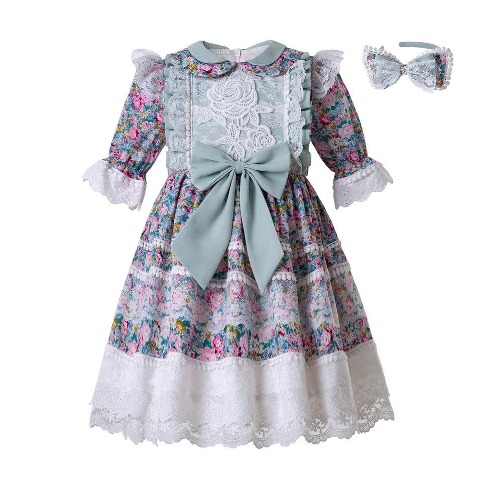 Girls Printed Flower Flared Sleeveless Dress Vintage Dance Kids Summer Wedding