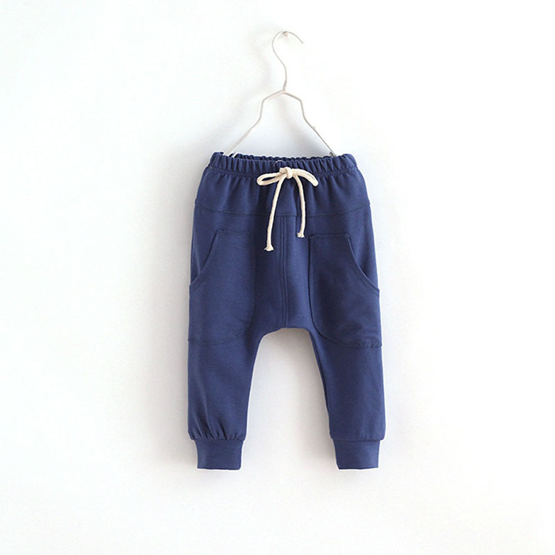 Newest Spring Childrens wear baby solid color embroidery long pants cotton Boys sports pants