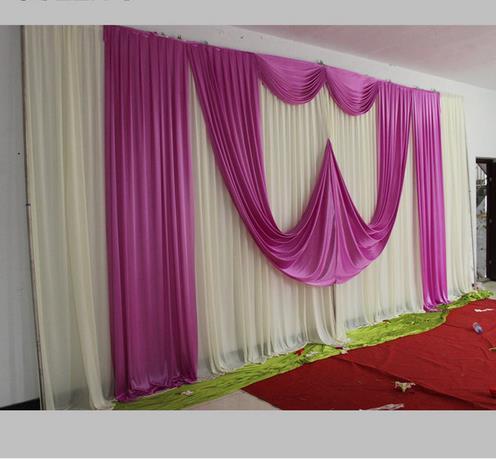 New Ice Silk White Wedding Backdrop With Beautiful Purple Swag