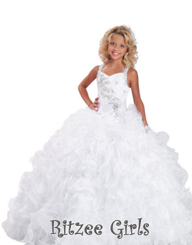 In Stock White Beads Flower Girls Dresses Little Girls Princess Dress Prom Gowns in stock layered pre teen party gowns little girls pageant dress pink color