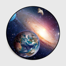 Beautiful planet rug space universe Vortex Milky Way Moon 3D pattern round mat Round floor non-slip bedroom Flannel carpet