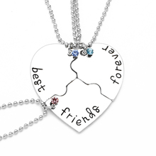 """3 Pcs/Set """"best friend forever"""" Necklaces Fashion Heart Pendant Charm 3 Colors Crystal Beads Silver Plated Friendship Necklace"""