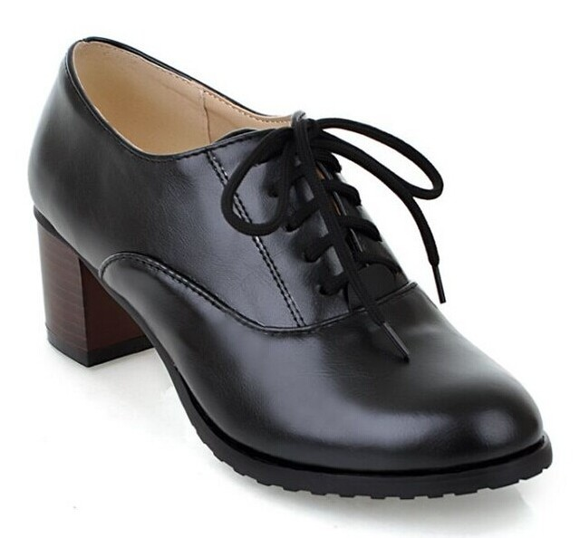 Free Shipping Women Casual Office Work Shoes Single Comfortable lady Heel  Shoes Ladies Leather Oxfords Shoes For Woman Big Size 1988eb89a