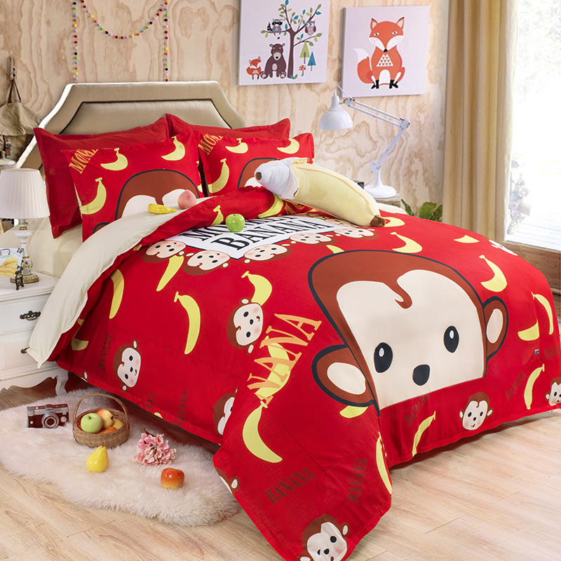 Monkey cartoon bedding set king queen twin cotton red lovely comforter  duvet quilt cover single double. Online Get Cheap Monkey Comforter  Aliexpress com   Alibaba Group