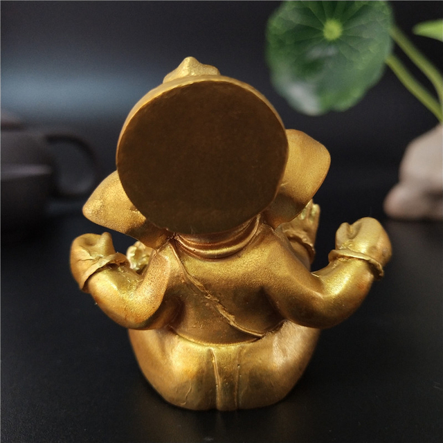Gold Lord Ganesha Buddha Statue Elephant God Sculptures Ganesh Figurines Man-made Stone Home Garden Buddha Decoration Statues 4