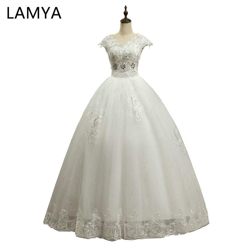 LAMYA hercegnő divatos laciness labda ruha esküvői ruhák 2018 plusz méretű menyasszonyi ruhák csipke fel V-nyak mellény de noiva