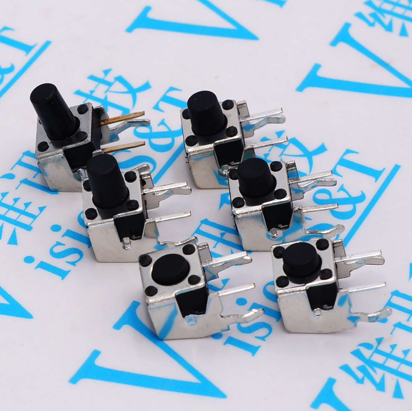 6x6xH=4.3/5/6/7/7.5/8/9/9.5/<font><b>10</b></font>/11/12mm High Right Angle <font><b>4PIN</b></font> Tactile Tact Push Button Micro Switch Direct Plug-in Self-reset DIP image