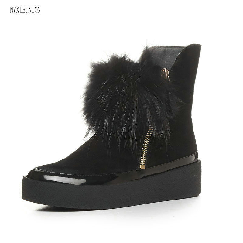 NVXIEUNION 2017 New fashion Hot Sale Women Boots Solid Soft Cute Women Snow Boots Round Toe Black pink Winter Shoes 2017 new arrival hot sale women boots solid bowtie slip on soft cute women snow boots round toe flat with winter shoes wsz31