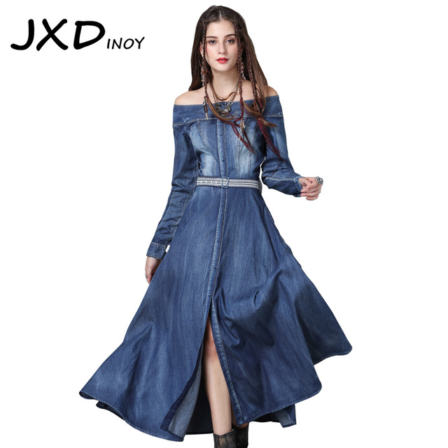 60cdcccfc8 JXDINOY Vintage Women Embroidery Slash neck Denim Dress New Cascading Ruffle  Belted Ankle-Length Patchwork dresses Vestidos