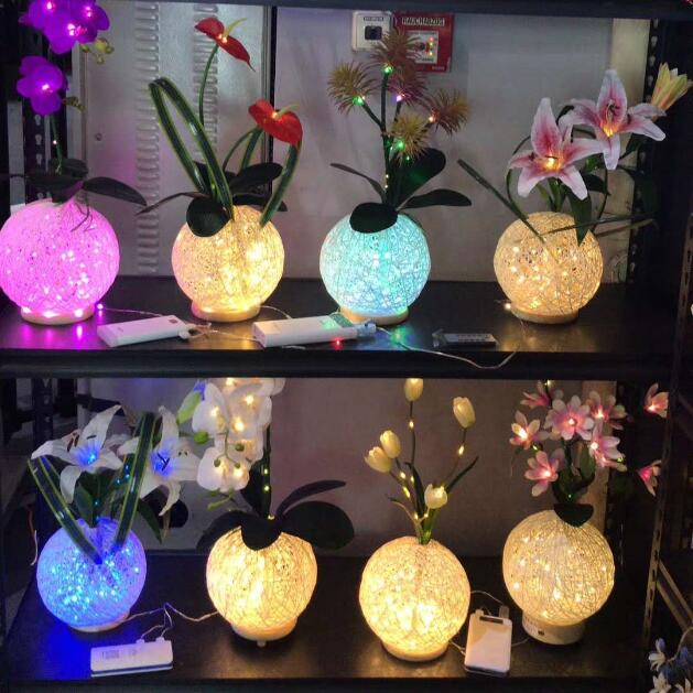 Remote 8 Models Newest Dynamic Fairy Lily Wedding Decoration Led Novelty Artistic Optical Fiber Flower Christmas New Year Party